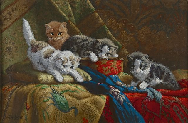 Cornelis Raaphorst | Four playing kittens, oil on canvas, 40.5 x 60.2 cm, signed l.l.