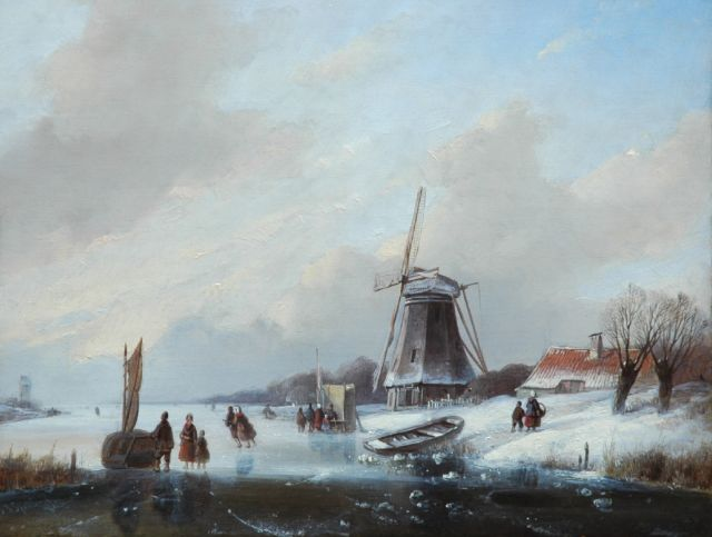 Jan Jacob Spohler | Skaters on a frozen waterway, a windmill in the distance, oil on panel, 26.8 x 34.0 cm, signed l.l.