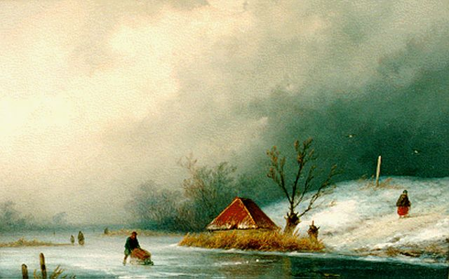 Johannes Franciscus Hoppenbrouwers | A frozen waterway, oil on panel, 22.3 x 31.5 cm, signed l.l.