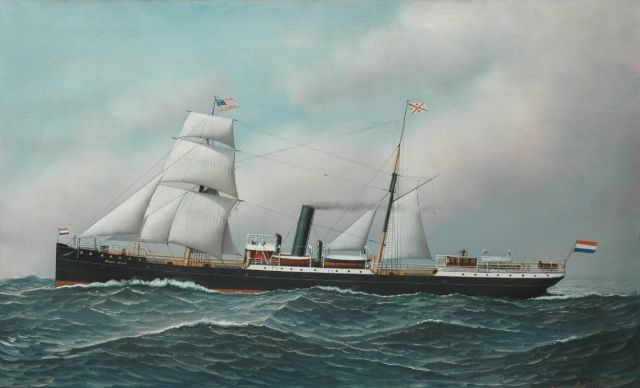 Anthony Jacobsen | The steamer Oranje Nassau setting sail for America, oil on canvas, 56.3 x 91.4 cm, signed l.r. and dated 1901