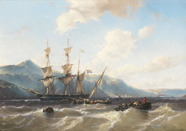 Louis Meijer | A scooner, cargo vessels and a sloop along a mountainous coast, possibly Saint Helena, oil on panel, 43.9 x 62.3 cm, signed l.r.