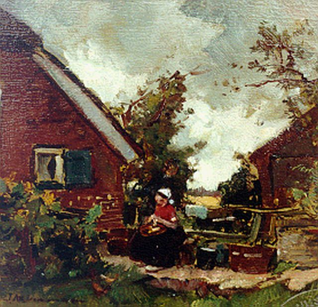 Johannes Evert Hendrik Akkeringa | A farmyard with a woman peeling potatoes, oil on panel, 15.7 x 16.2 cm, signed l.l.