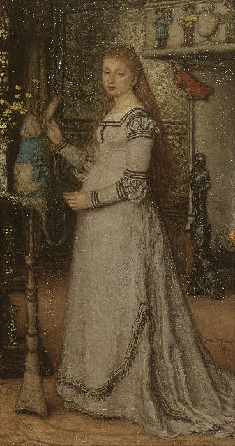 Matthijs Maris | An elegant lady, oil on canvas, 41.4 x 22.3 cm, signed m.r. and dated '73