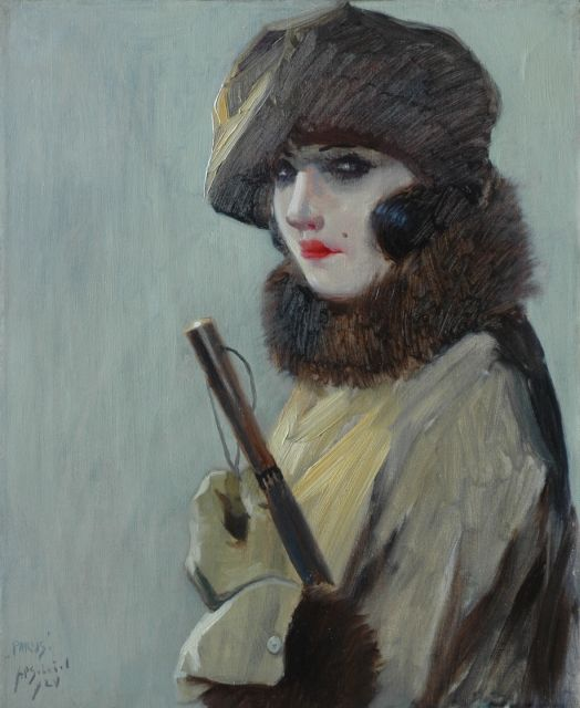 Anthonie Pieter Schotel | Parisian lady, oil on canvas, 56.5 x 46.3 cm, signed l.l. and dated '24 l.l. and 1924 on the reverse
