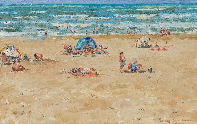 Guillaume P.  | Motherly love on the beach, oil on board 39.4 x 61.0 cm, signed l.r. and dated 28 aug 2004 on the reverse