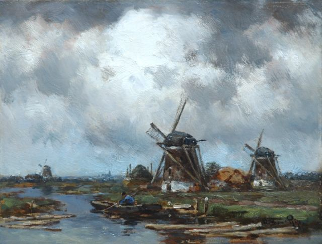 Willem Rip | Showery weather, oil on panel, 27.7 x 36.2 cm, signed l.r. and on the reverse