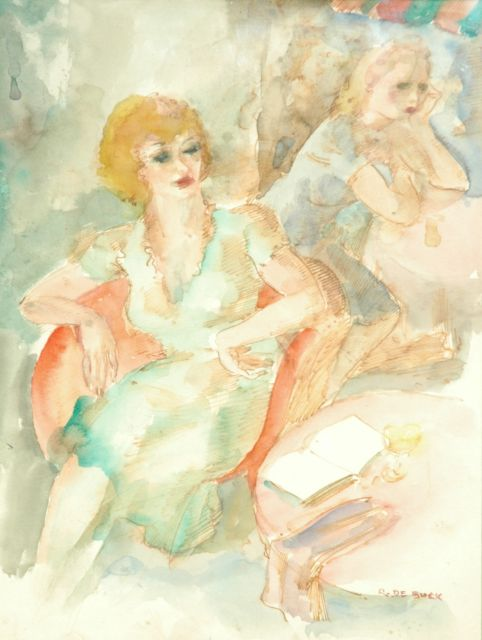 Raphaël de Buck | The terrace, watercolour on paper, 31.5 x 24.0 cm, signed l.r.