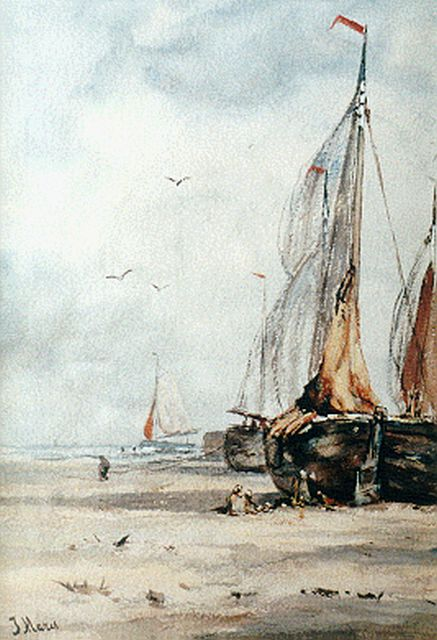 Jacob Maris | Barges on the beach, watercolour on paper, 36.0 x 25.0 cm, signed l.l. and on the reverse