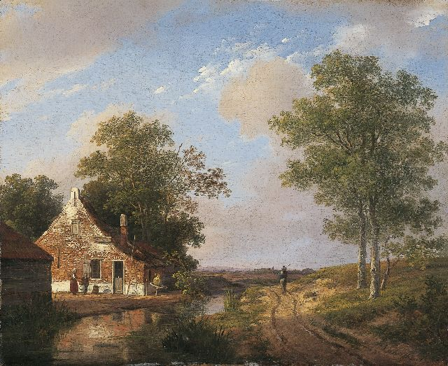 Andreas Schelfhout | Farmstead, oil on panel, 23.4 x 28.5 cm, signed l.r. and painted circa 1820
