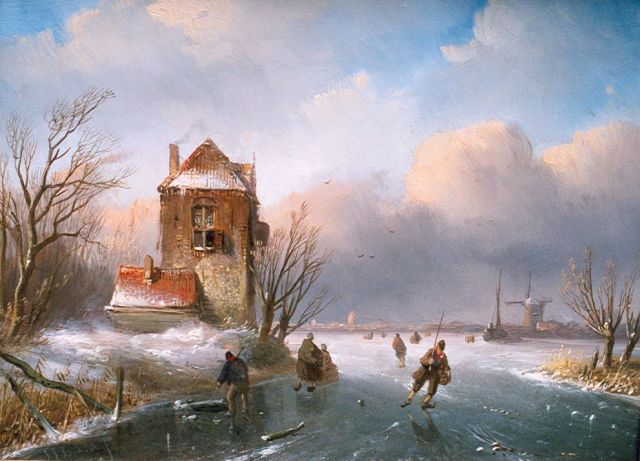 Jan Jacob Spohler | Skaters on a frozen waterway, oil on panel, 18.9 x 25.4 cm, signed l.l.