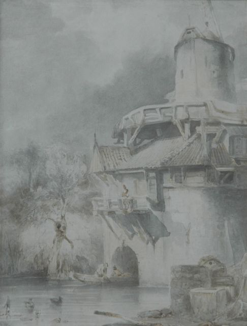 Johannes Bosboom | A watermill near Leuven, sepia on paper, 28.6 x 21.3 cm, signed l.r.