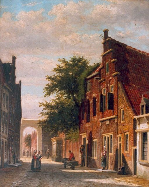 Johannes Jacobus Mittertreiner | A Dutch street with figures, oil on canvas, 42.4 x 33.6 cm, signed l.r.