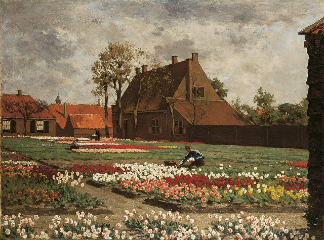 Anton L. Koster | A bulb field with the house of 'Benedictus de Spinoza', Rijnsburg, oil on canvas, 75.1 x 100.4 cm, signed l.l.