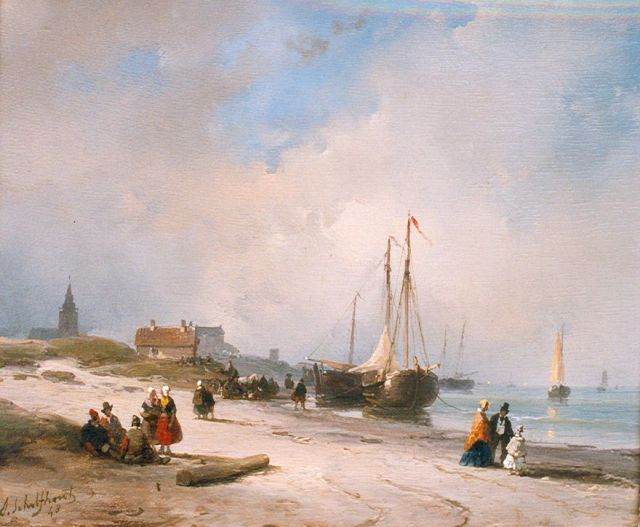 Andreas Schelfhout | Fisherfolk and elegant strollers on the beach, Scheveningen, oil on panel, 19.0 x 22.4 cm, signed l.l. and dated '48