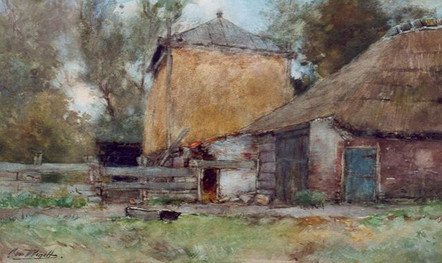 Chris van der Windt | A farm and a haystack, watercolour on paper, 31.0 x 51.5 cm, signed l.l.