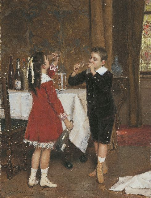 Albert Roosenboom | After the party, oil on canvas, 34.2 x 26.4 cm, signed l.l. and dated 1882 on the reverse