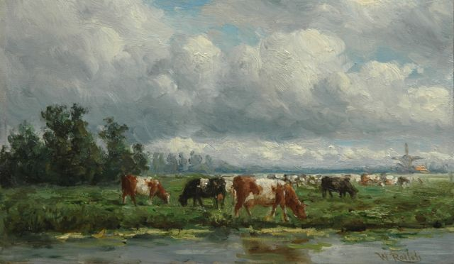 Willem Roelofs | Cattle in a landscape, oil on panel, 15.0 x 25.0 cm, signed l.r.