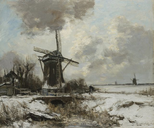 Louis Apol | A winter landscape with a windmill, oil on canvas, 50.0 x 60.3 cm, signed l.r.