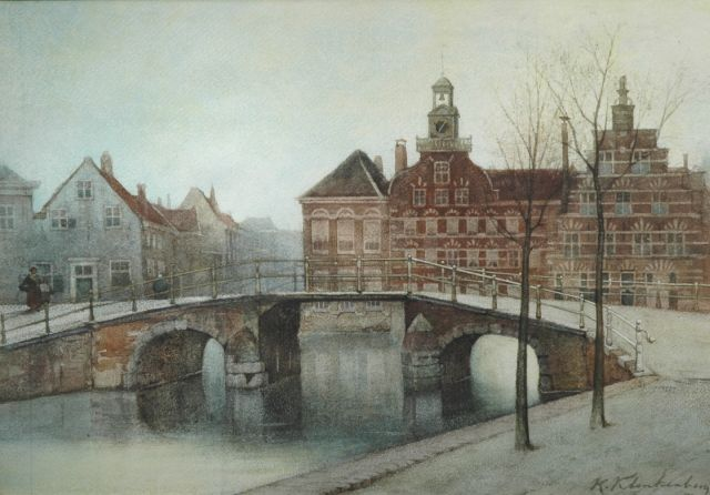 Karel Klinkenberg | A view of a Dutch town in winter, watercolour on paper, 29.1 x 41.7 cm, signed l.r.