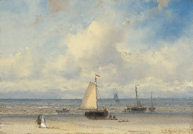 Johannes Franciscus Hoppenbrouwers | Elegant figures on the beach with 'bomschuiten' beyond, oil on panel, 16.1 x 22.8 cm, signed l.r.