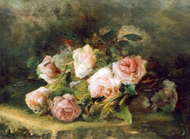 Sara Hense | Roses draped on a table, oil on canvas, 50.0 x 67.2 cm, signed l.r.