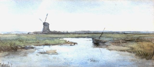 Paul Joseph Constantin Gabriel | A polder landscape with windmill, watercolour on paper, 7.5 x 16.5 cm, signed l.l. and painted circa 1899