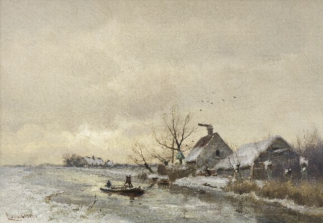 Louis Apol | A view of a polder canal in winter, oil on panel, 29.1 x 41.5 cm, signed l.l.