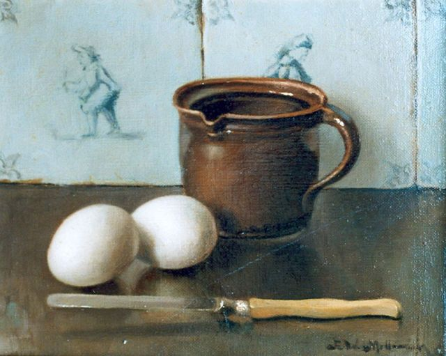 Pieter Wilhelm Millenaar | A still life with eggs and a knife, oil on canvas, 20.2 x 25.2 cm, signed l.r.