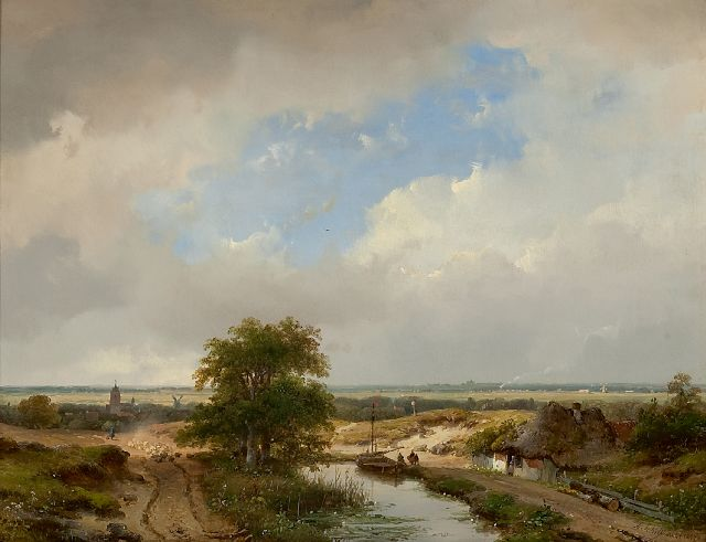 Andreas Schelfhout | A dune landscape with Haarlem in the distance and a steam train, oil on panel, 31.6 x 41.1 cm, signed l.r. and painted 1847