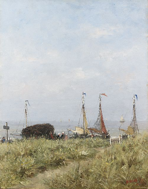 Hendrik Willem Mesdag | Fisherfolk and 'bomschuiten' behind the dunes, oil on panel, 50.5 x 39.5 cm, signed l.r. with initials and dated '75