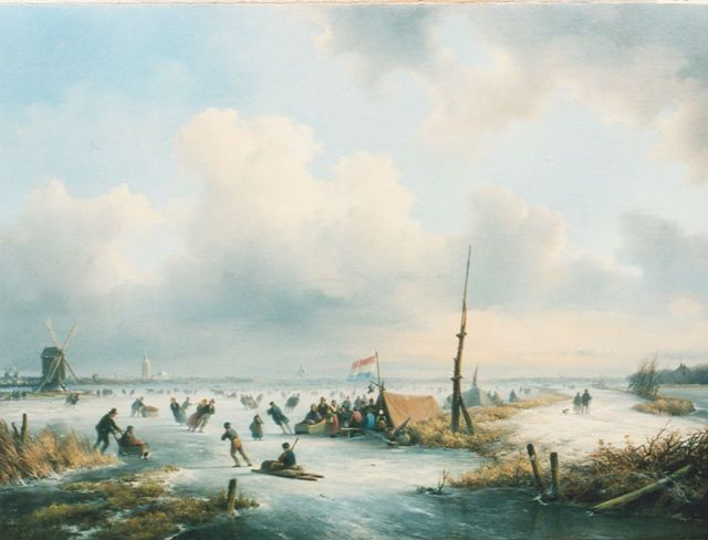 Lodewijk Johannes Kleijn | Numerous people on the ice, oil on canvas, 43.2 x 57.8 cm, signed l.l.