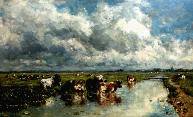 Roelofs W.  | Polder landscape with cows, oil on canvas, 49.5 x 80.0 cm, signed l.l.