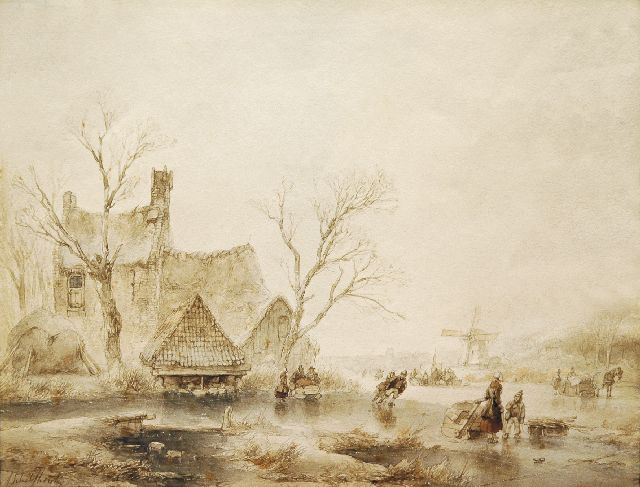 Andreas Schelfhout | Skaters in a winter landscape, pencil, brush in brown ink and black ink on paper, 24.5 x 30.2 cm, signed l.l.
