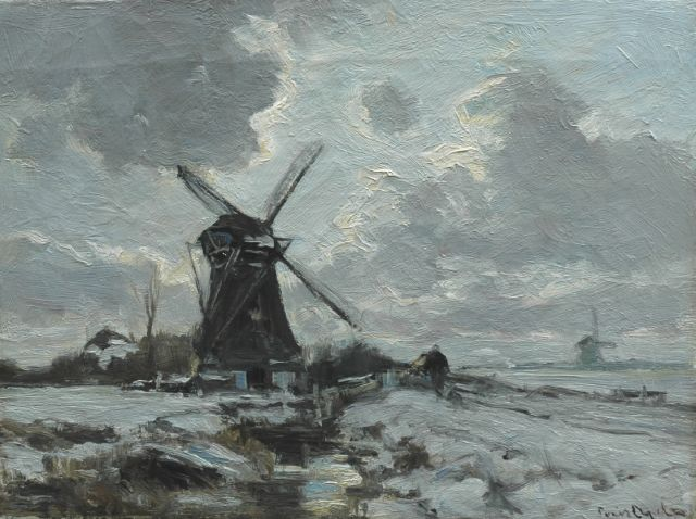 Louis Apol | A windmill in a snow-covered landscape, oil on canvas, 30.5 x 40.6 cm, signed l.r.