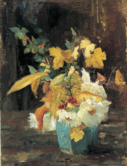 Floris Arntzenius | A ginger jar with an autumn bouquet, oil on canvas, 50.4 x 38.9 cm
