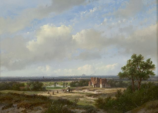 Andreas Schelfhout | Panoramic landscape with Haarlem and the ruins of Brederode in the distance, oil on panel, 28.4 x 39.1 cm, signed l.l. and painted '55