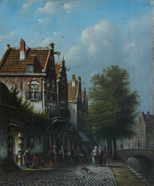 Johannes Franciscus Spohler | Daily activities in a Dutch town, oil on canvas, 37.5 x 31.1 cm, signed l.l.