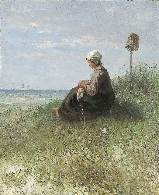 Jozef Israëls | A girl knitting in the dunes, oil on panel, 44.2 x 36.1 cm, signed l.l.