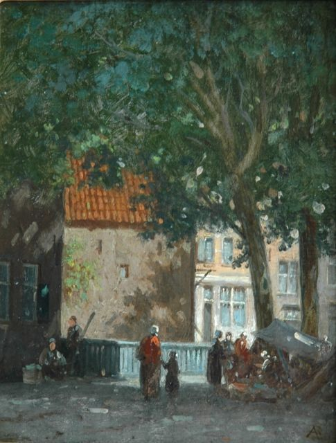 Adrianus Eversen | A market stall under the trees, oil on canvas laid down on panel, 20.3 x 15.8 cm, signed l.r. with monogram