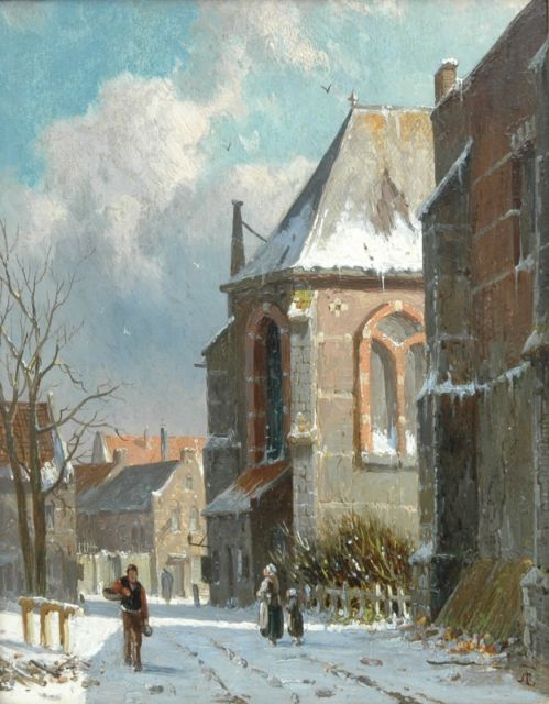 Adrianus Eversen | A snowy street, oil on panel, 19.0 x 14.4 cm, signed l.r. with monogram