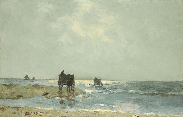 Jan Hendrik Weissenbruch | Shell-gatherers on the beach at Scheveningen, oil on canvas, 60.7 x 93.3 cm, signed l.l. and dated '94
