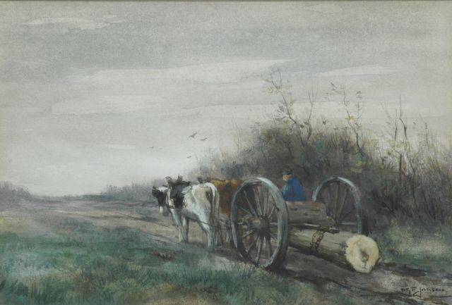 Willem George Frederik Jansen | Gathering wood, Brabant, watercolour on paper, 24.8 x 36.6 cm, signed l.r.
