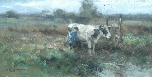 Willem George Frederik Jansen | A farmer milking a cow, oil on canvas, 20.5 x 40.2 cm, signed l.l.