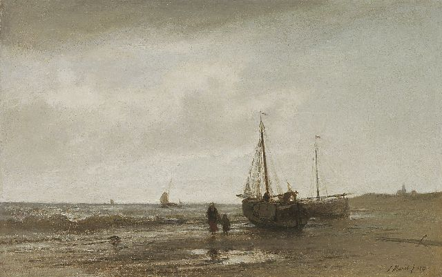 Jacob Maris | Walking along the beach, oil on canvas, 21.2 x 33.3 cm, signed l.r. and dated 1871