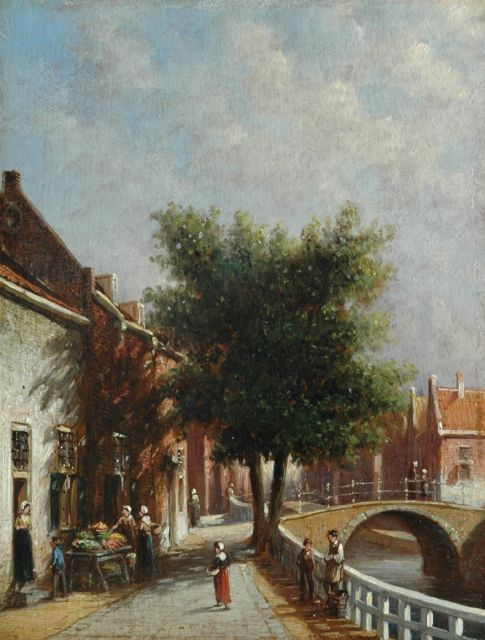 Petrus Gerardus Vertin | A town view with vegetable stall, oil on panel, 25.0 x 19.0 cm, signed r.c.