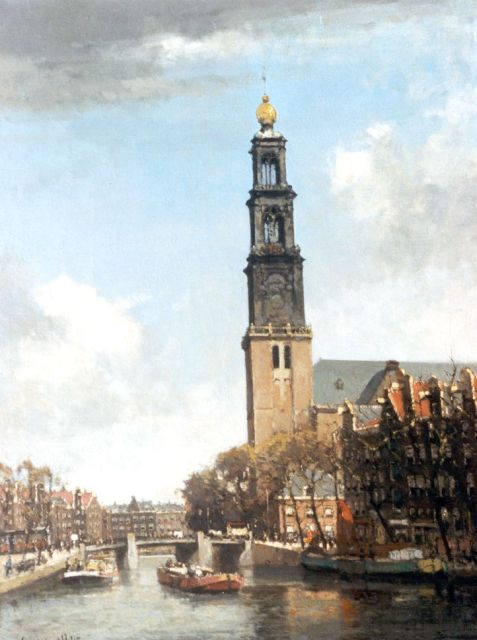 Leendert van der Vlist | A view of the Prinsengracht, with the Westerkerk beyond, Amsterdam, oil on canvas, 65.2 x 50.8 cm, signed l.l.