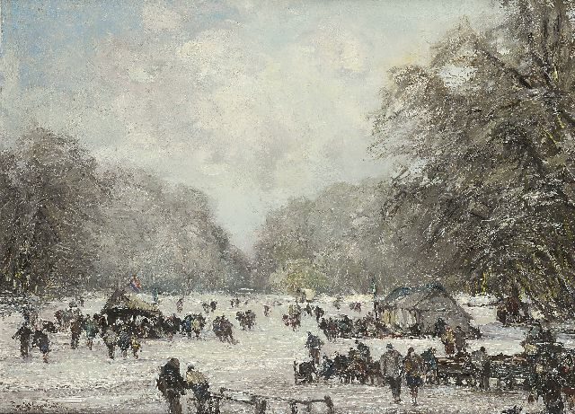 Louis Apol | Skaters on the pond in the Haagse Bos, oil on canvas, 55.3 x 75.2 cm, signed l.l.