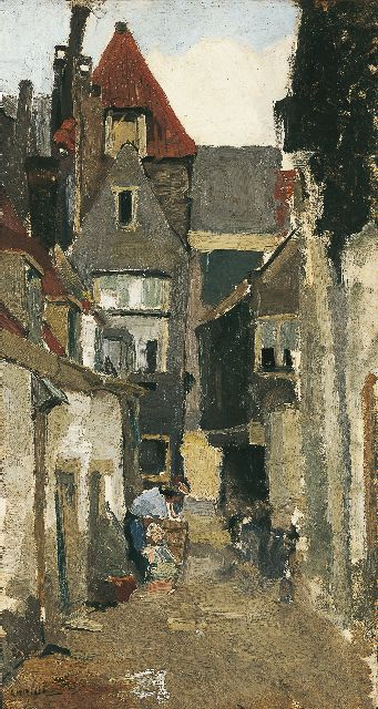 George Hendrik Breitner | A street, Rotterdam, oil on canvas laid down on panel, 44.6 x 24.4 cm, signed l.l. and painted circa 1880