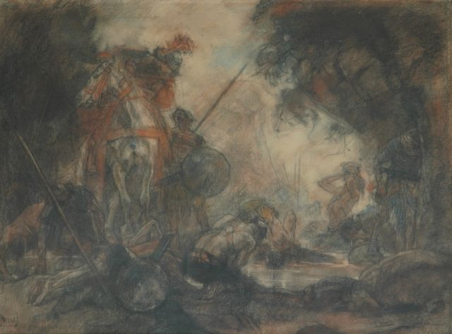 Johannes Hendricus Jurres | After the battle, pastel on paper, 54.2 x 73.2 cm, signed l.l.