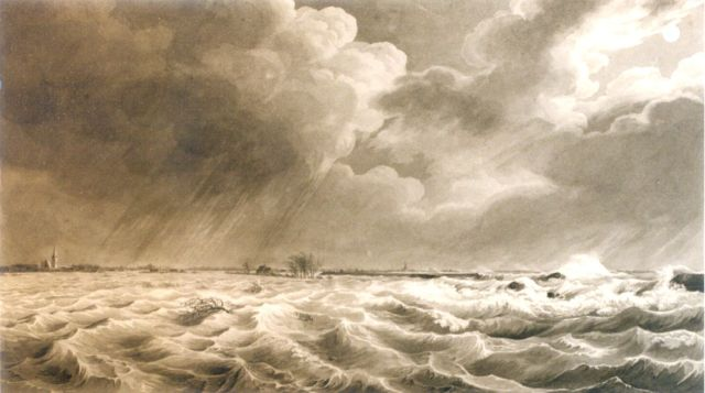 Johannes Hermanus Koekkoek | The January 14th and 15th floods in Zeeland, 1808, pen and washed ink on paper, 22.5 x 38.3 cm